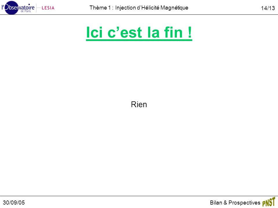 30/09/05Bilan & Prospectives 14/13 Thème 1 : Injection dHélicité Magnétique Ici cest la fin ! Rien