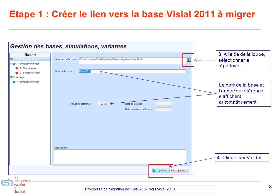 Séminaire Découverte VISIAL 2010 – réf kl Procédure de migration de visial 2007 vers visial 2010 3 Etape 1 : Créer le lien vers la base Visial 2011 à