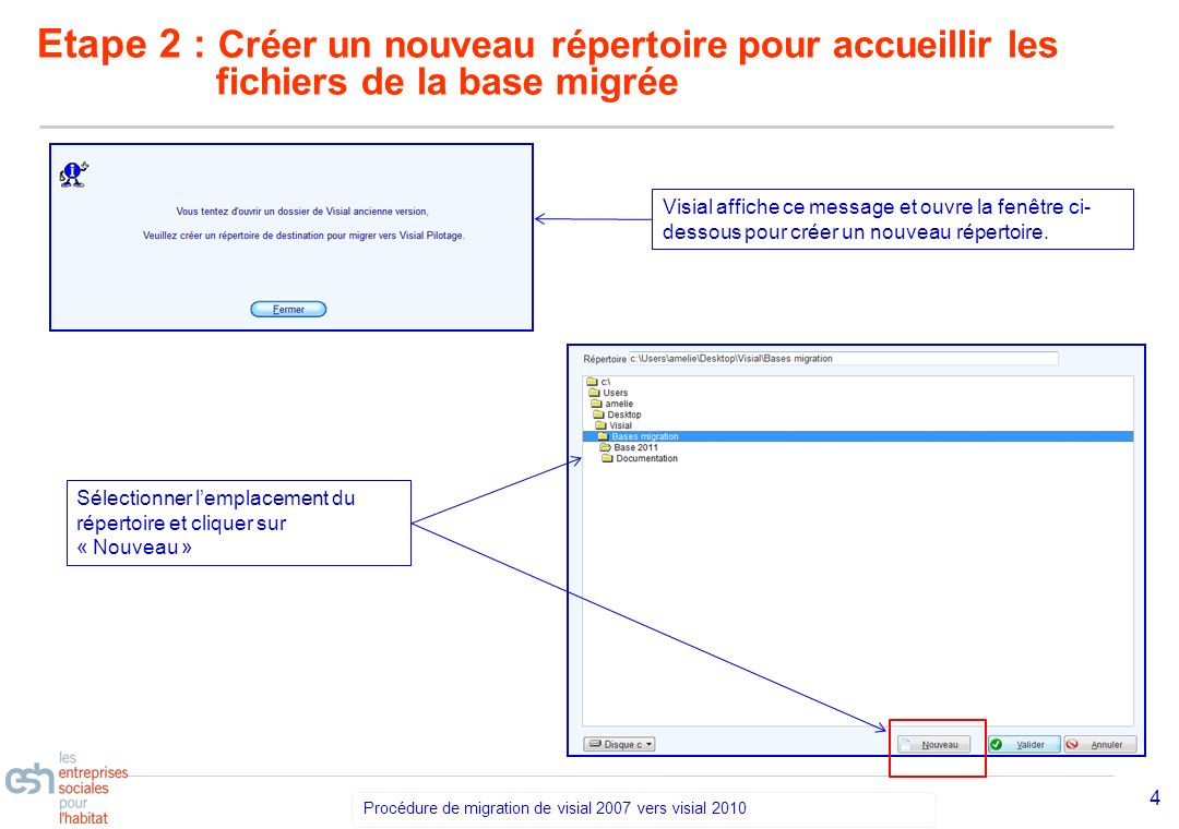 Séminaire Découverte VISIAL 2010 – réf kl Procédure de migration de visial 2007 vers visial 2010 5 Etape 2 : Créer un nouveau répertoire pour accueillir les fichiers de la base migrée Dans la fenêtre qui saffiche, nommer le nouveau répertoire et Valider.