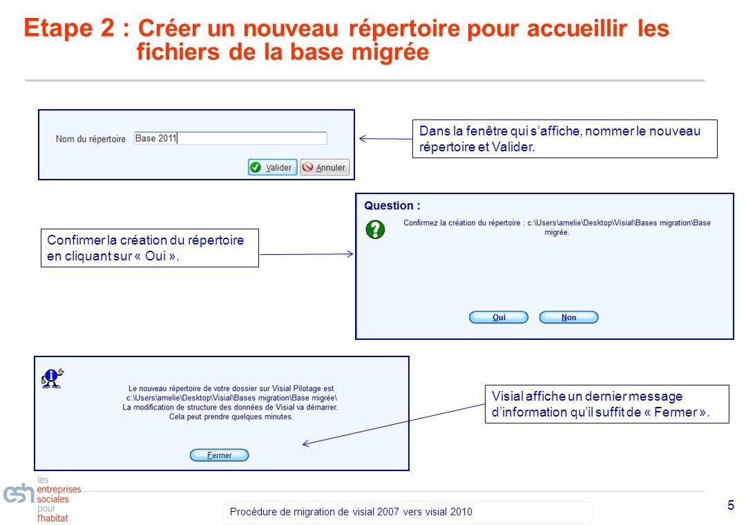 Séminaire Découverte VISIAL 2010 – réf kl Procédure de migration de visial 2007 vers visial 2010 6 Etape 3: Migration de la base Visial effectue la migration.