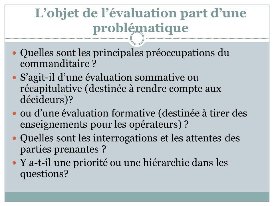 Lobjet de lévaluation part dune problématique Quelles sont les principales préoccupations du commanditaire ? Sagit-il dune évaluation sommative ou réc
