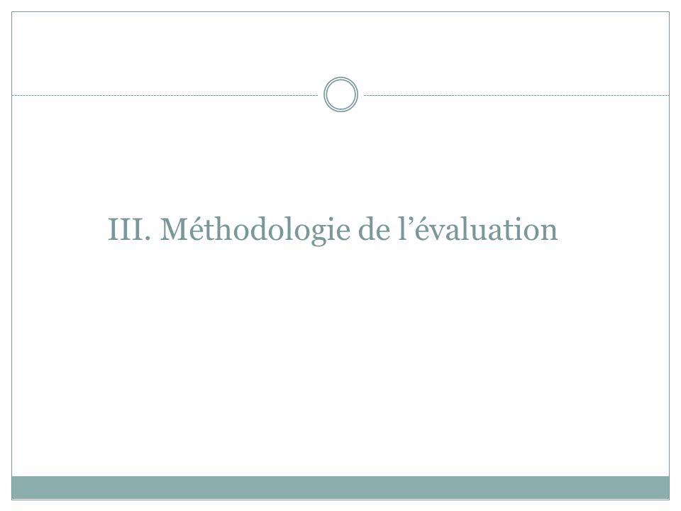 III. Méthodologie de lévaluation