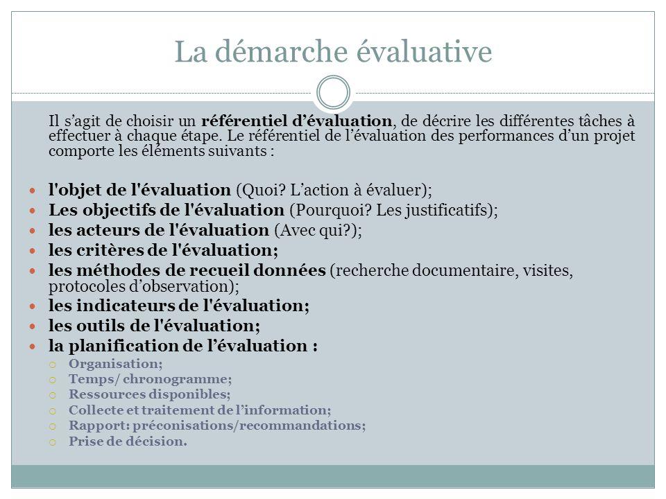 La démarche évaluative Il sagit de choisir un référentiel dévaluation, de décrire les différentes tâches à effectuer à chaque étape. Le référentiel de
