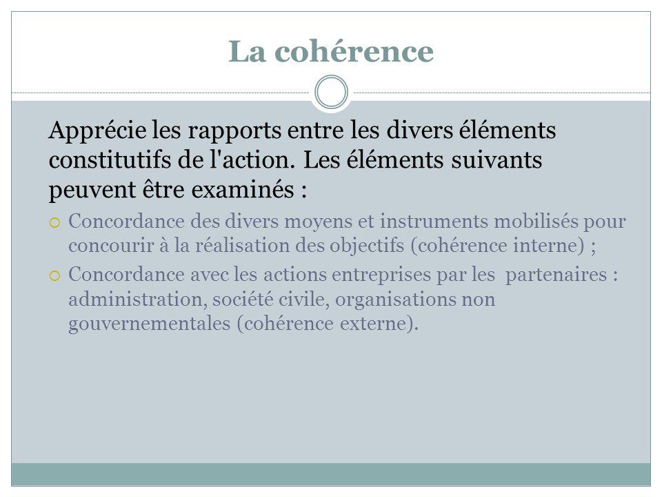 La cohérence Apprécie les rapports entre les divers éléments constitutifs de l'action. Les éléments suivants peuvent être examinés : Concordance des d