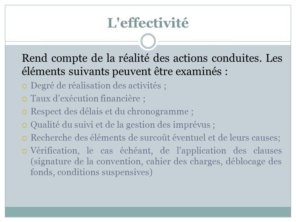 L'effectivité Rend compte de la réalité des actions conduites. Les éléments suivants peuvent être examinés : Degré de réalisation des activités ; Taux