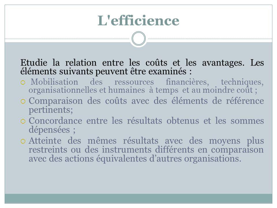 L'efficience Etudie la relation entre les coûts et les avantages. Les éléments suivants peuvent être examinés : Mobilisation des ressources financière