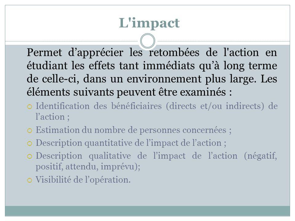 L'impact Permet dapprécier les retombées de l'action en étudiant les effets tant immédiats quà long terme de celle-ci, dans un environnement plus larg
