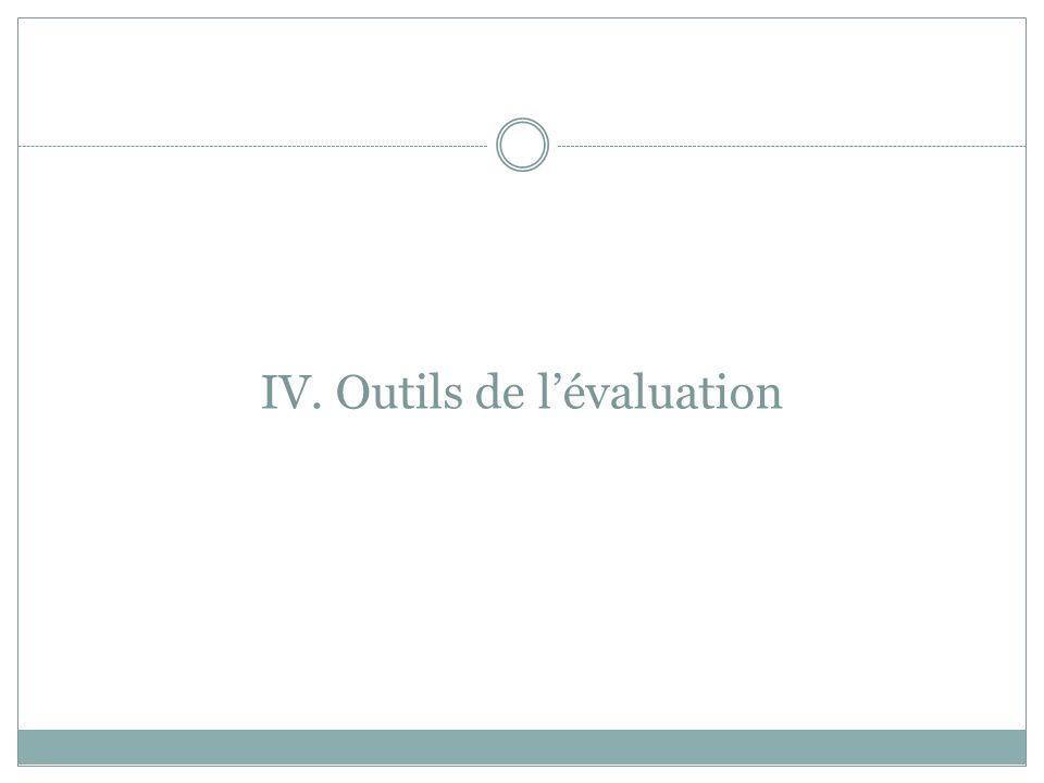 IV. Outils de lévaluation