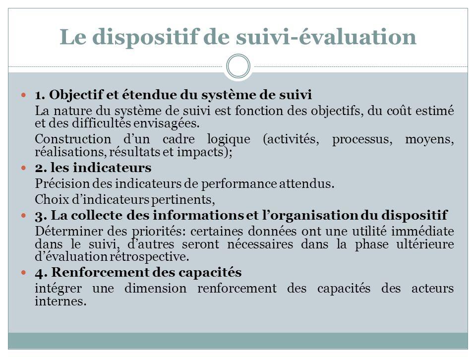 Le dispositif de suivi-évaluation 1. Objectif et étendue du système de suivi La nature du système de suivi est fonction des objectifs, du coût estimé