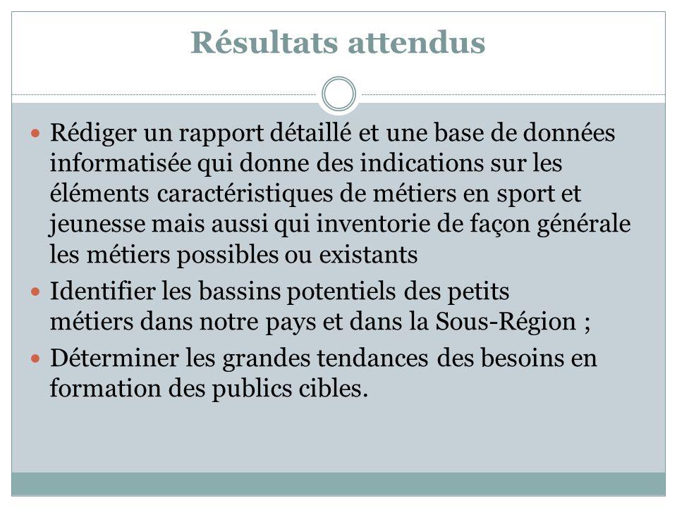 Résultats attendus Rédiger un rapport détaillé et une base de données informatisée qui donne des indications sur les éléments caractéristiques de méti