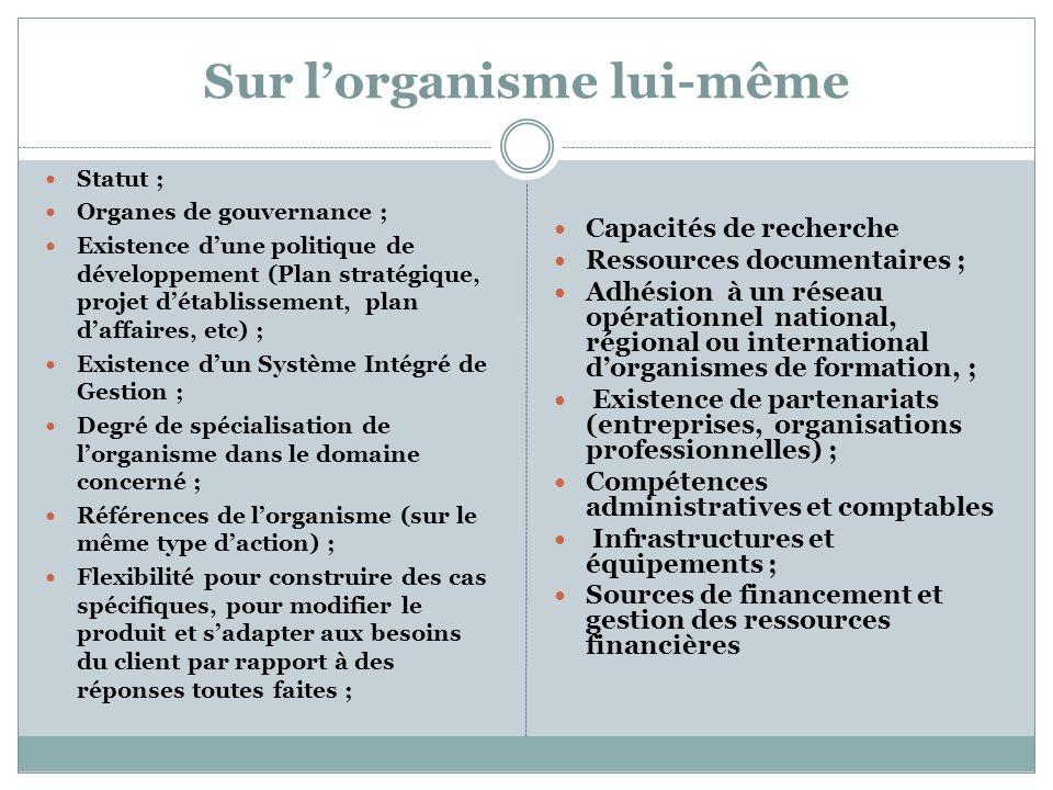 Sur lorganisme lui-même Statut ; Organes de gouvernance ; Existence dune politique de développement (Plan stratégique, projet détablissement, plan daf