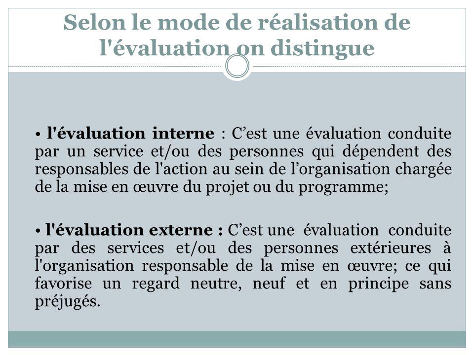 Selon le mode de réalisation de l'évaluation on distingue l'évaluation interne : Cest une évaluation conduite par un service et/ou des personnes qui d