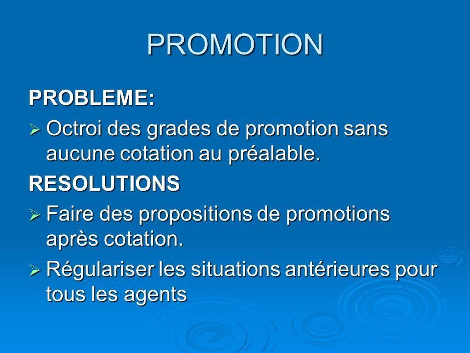 PROMOTION PROBLEME: Octroi des grades de promotion sans aucune cotation au préalable.