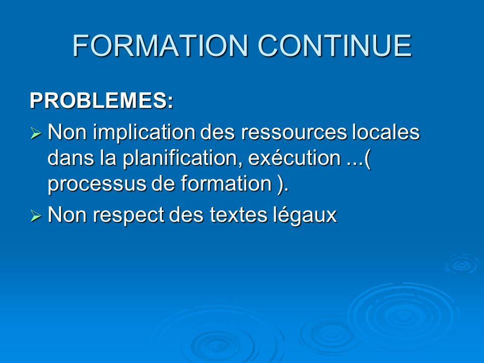 FORMATION CONTINUE PROBLEMES: Non implication des ressources locales dans la planification, exécution...( processus de formation ). Non implication de
