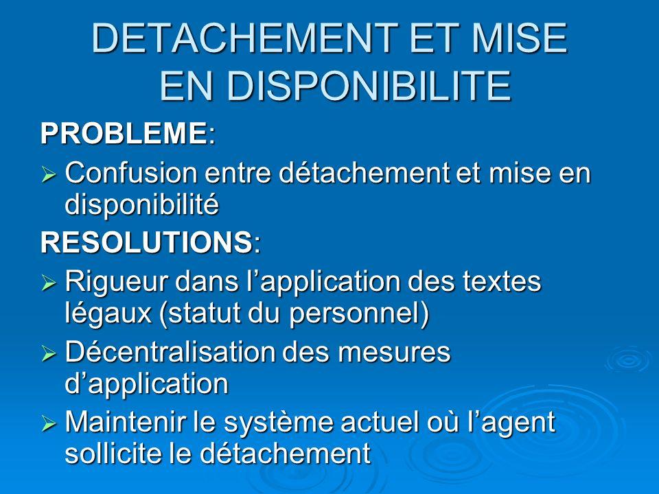 DETACHEMENT ET MISE EN DISPONIBILITE PROBLEME: Confusion entre détachement et mise en disponibilité Confusion entre détachement et mise en disponibili