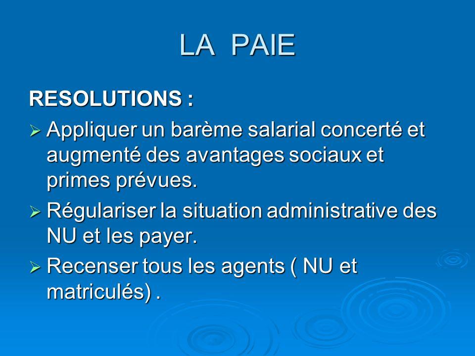 LA PAIE RESOLUTIONS : Appliquer un barème salarial concerté et augmenté des avantages sociaux et primes prévues. Appliquer un barème salarial concerté