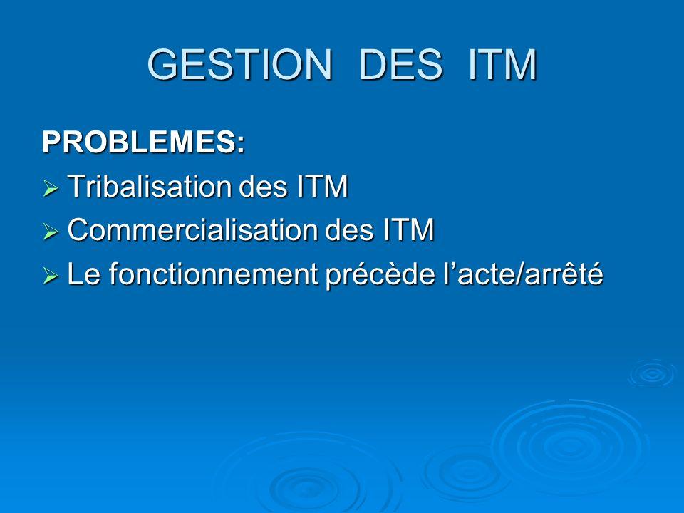 GESTION DES ITM PROBLEMES: Tribalisation des ITM Tribalisation des ITM Commercialisation des ITM Commercialisation des ITM Le fonctionnement précède lacte/arrêté Le fonctionnement précède lacte/arrêté