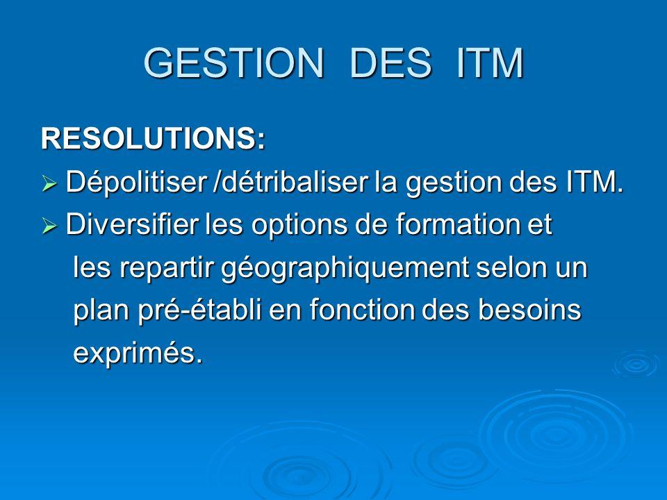 GESTION DES ITM RESOLUTIONS: Dépolitiser /détribaliser la gestion des ITM. Dépolitiser /détribaliser la gestion des ITM. Diversifier les options de fo