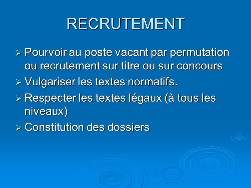 RECRUTEMENT Pourvoir au poste vacant par permutation ou recrutement sur titre ou sur concours Pourvoir au poste vacant par permutation ou recrutement