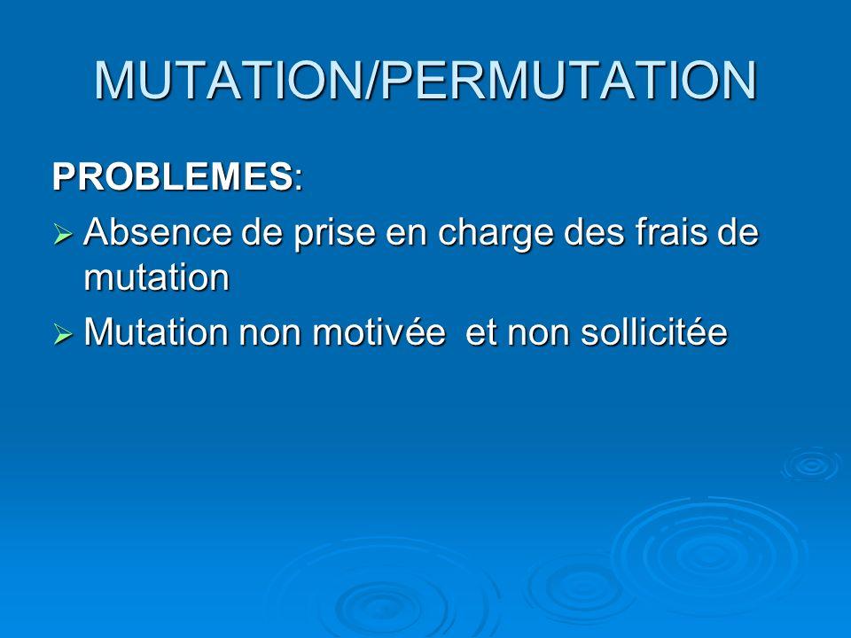 MUTATION/PERMUTATION PROBLEMES: Absence de prise en charge des frais de mutation Absence de prise en charge des frais de mutation Mutation non motivée et non sollicitée Mutation non motivée et non sollicitée