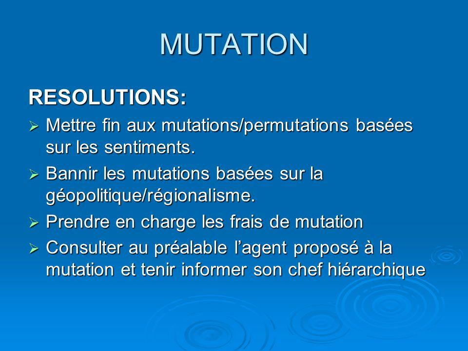 MUTATION RESOLUTIONS: Mettre fin aux mutations/permutations basées sur les sentiments. Mettre fin aux mutations/permutations basées sur les sentiments