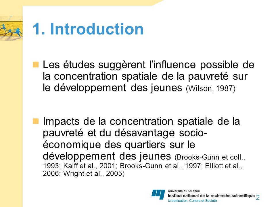 1. Introduction Les études suggèrent linfluence possible de la concentration spatiale de la pauvreté sur le développement des jeunes (Wilson, 1987) Im