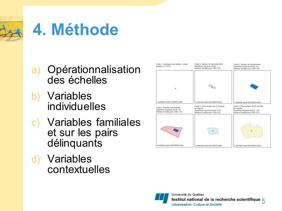 4. Méthode a) Opérationnalisation des échelles b) Variables individuelles c) Variables familiales et sur les pairs délinquants d) Variables contextuel