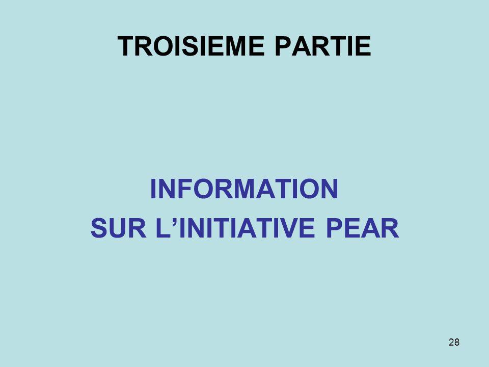 28 TROISIEME PARTIE INFORMATION SUR LINITIATIVE PEAR