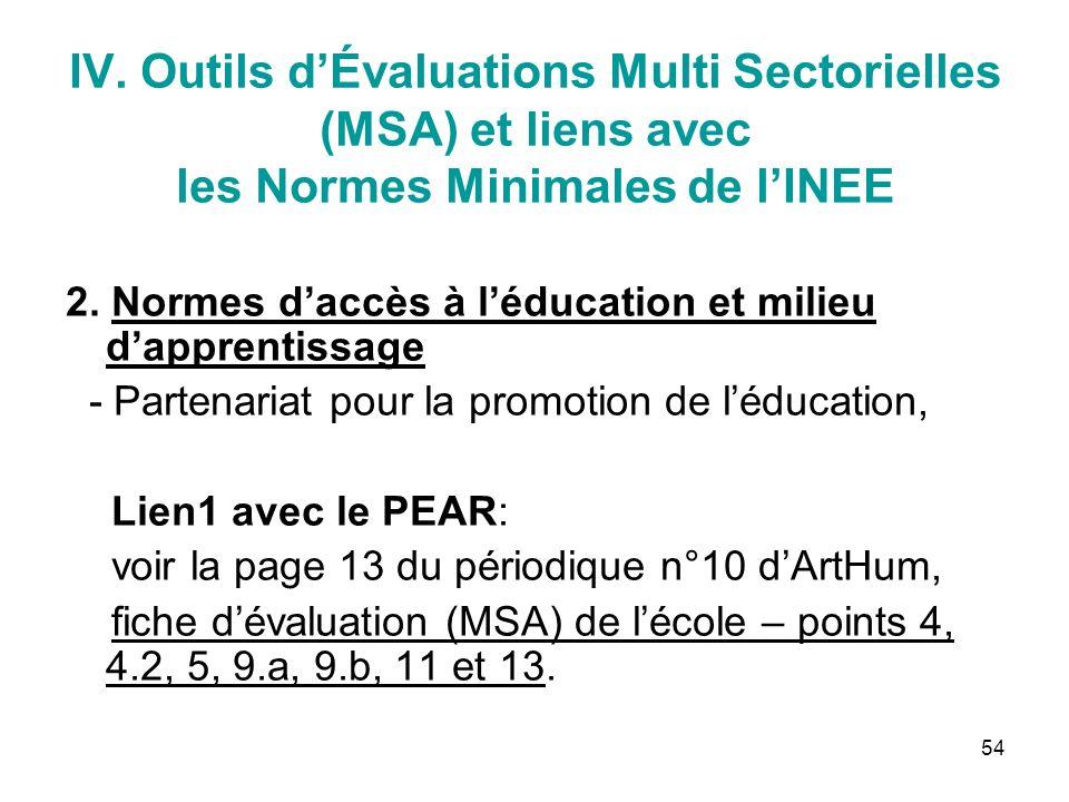 54 IV. Outils dÉvaluations Multi Sectorielles (MSA) et liens avec les Normes Minimales de lINEE 2.