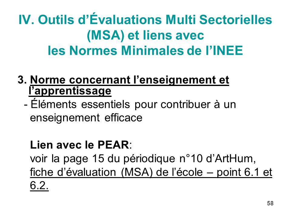 58 IV. Outils dÉvaluations Multi Sectorielles (MSA) et liens avec les Normes Minimales de lINEE 3.