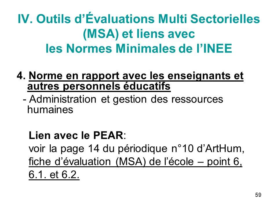 59 IV. Outils dÉvaluations Multi Sectorielles (MSA) et liens avec les Normes Minimales de lINEE 4.