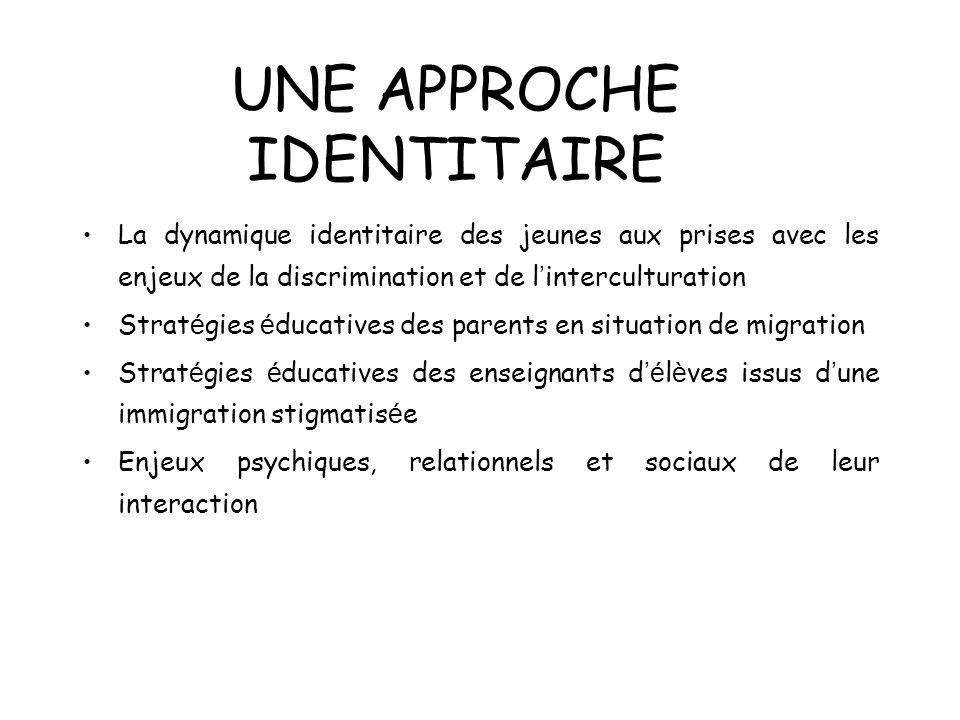 UNE APPROCHE IDENTITAIRE La dynamique identitaire des jeunes aux prises avec les enjeux de la discrimination et de l interculturation Strat é gies é d
