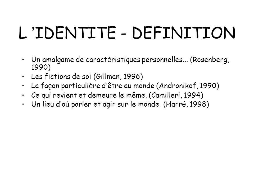 L IDENTITE - DEFINITION Un amalgame de caract é ristiques personnelles... (Rosenberg, 1990) Les fictions de soi (Gillman, 1996) La fa ç on particuli è