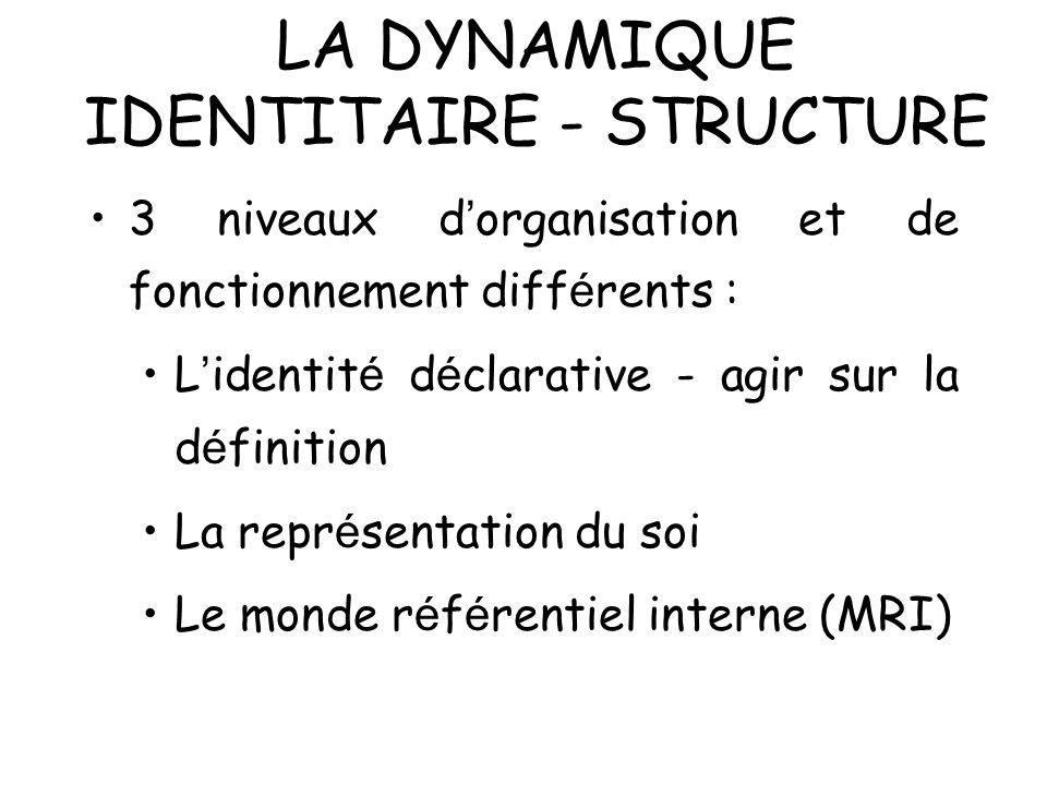 LA DYNAMIQUE IDENTITAIRE - STRUCTURE 3 niveaux d organisation et de fonctionnement diff é rents : L identit é d é clarative - agir sur la d é finition