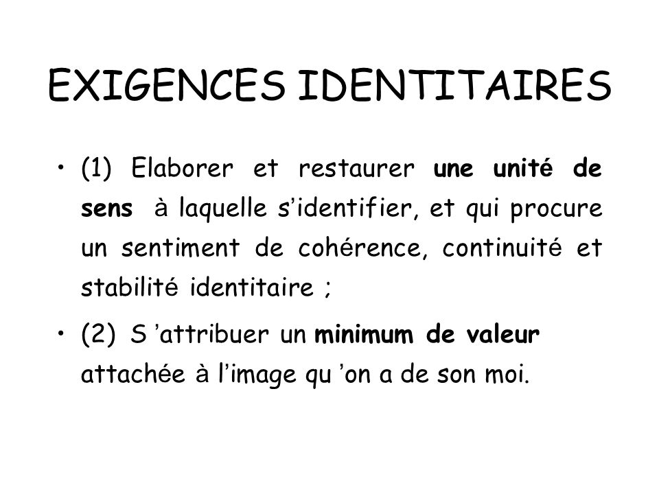 EXIGENCES IDENTITAIRES (1) Elaborer et restaurer une unit é de sens à laquelle s identifier, et qui procure un sentiment de coh é rence, continuit é e