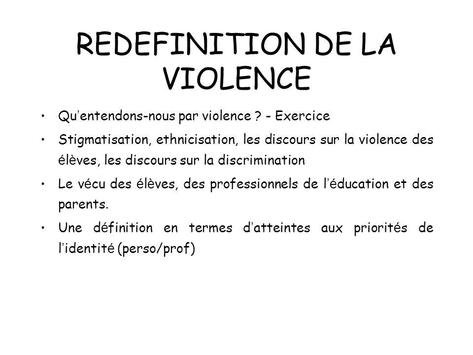 REDEFINITION DE LA VIOLENCE Qu entendons-nous par violence ? - Exercice Stigmatisation, ethnicisation, les discours sur la violence des é l è ves, les