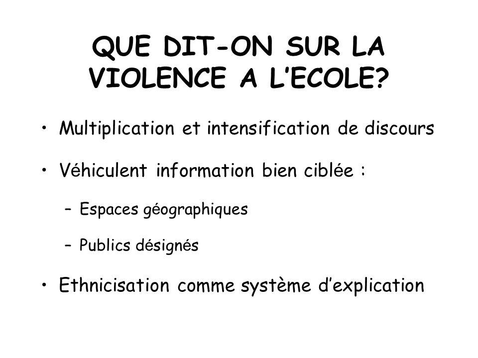 QUE DIT-ON SUR LA VIOLENCE A LECOLE? Multiplication et intensification de discours V é hiculent information bien cibl é e : –Espaces g é ographiques –