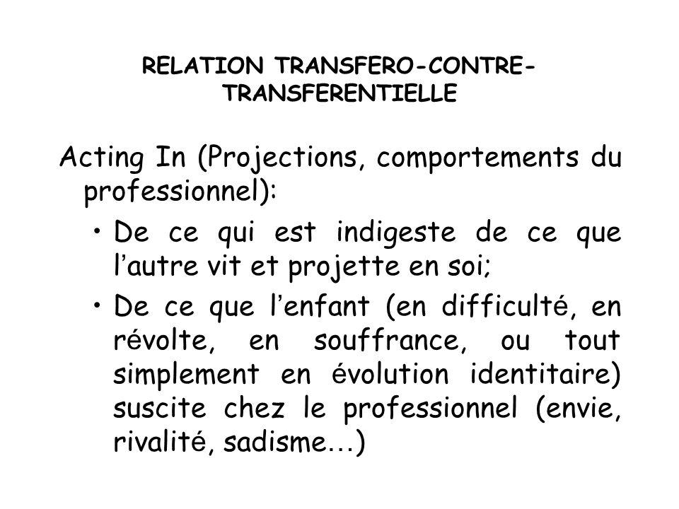 RELATION TRANSFERO-CONTRE- TRANSFERENTIELLE Acting In (Projections, comportements du professionnel): De ce qui est indigeste de ce que l autre vit et
