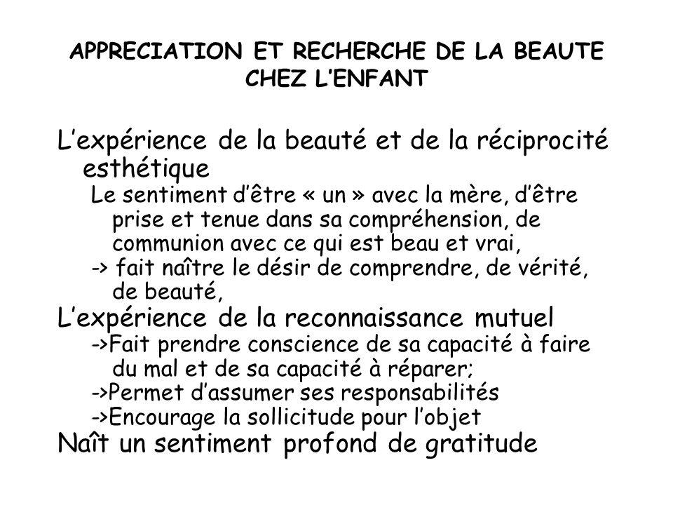 APPRECIATION ET RECHERCHE DE LA BEAUTE CHEZ LENFANT Lexpérience de la beauté et de la réciprocité esthétique Le sentiment dêtre « un » avec la mère, d