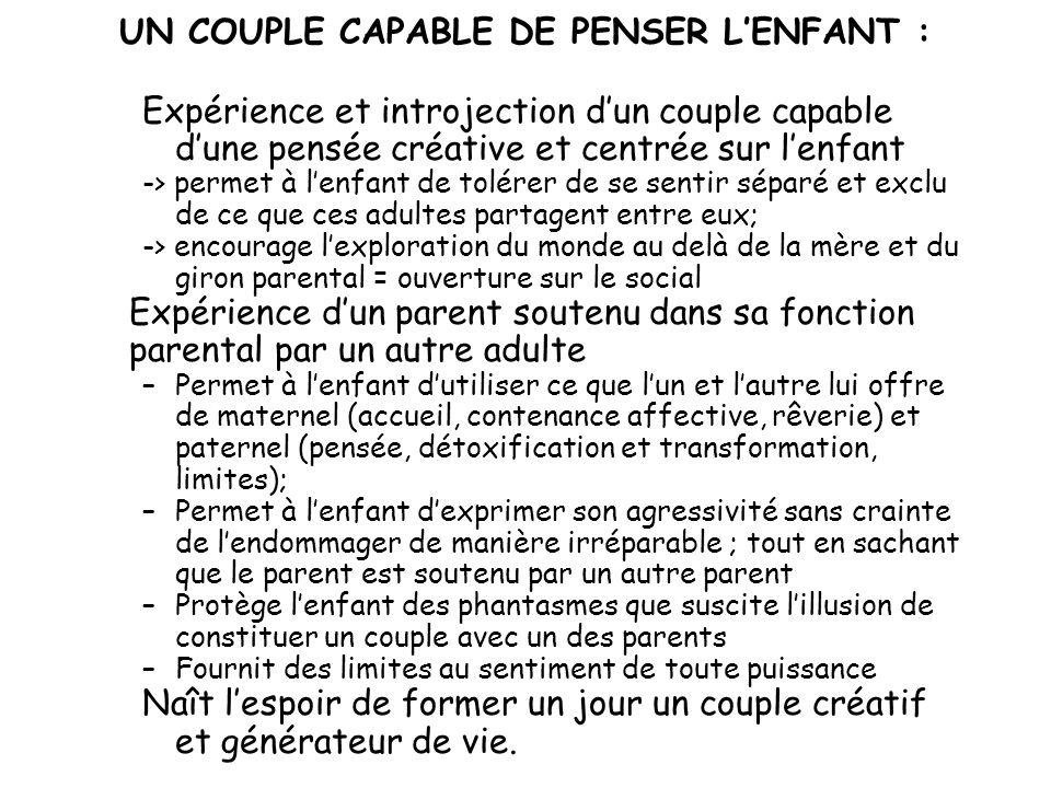 UN COUPLE CAPABLE DE PENSER LENFANT : Expérience et introjection dun couple capable dune pensée créative et centrée sur lenfant -> permet à lenfant de