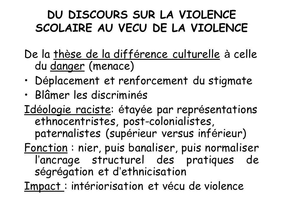DU DISCOURS SUR LA VIOLENCE SCOLAIRE AU VECU DE LA VIOLENCE De la th è se de la diff é rence culturelle à celle du danger (menace) D é placement et re