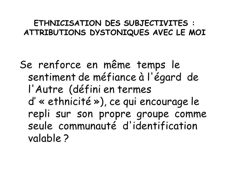 ETHNICISATION DES SUBJECTIVITES : ATTRIBUTIONS DYSTONIQUES AVEC LE MOI Se renforce en même temps le sentiment de méfiance à l'égard de l'Autre (défini