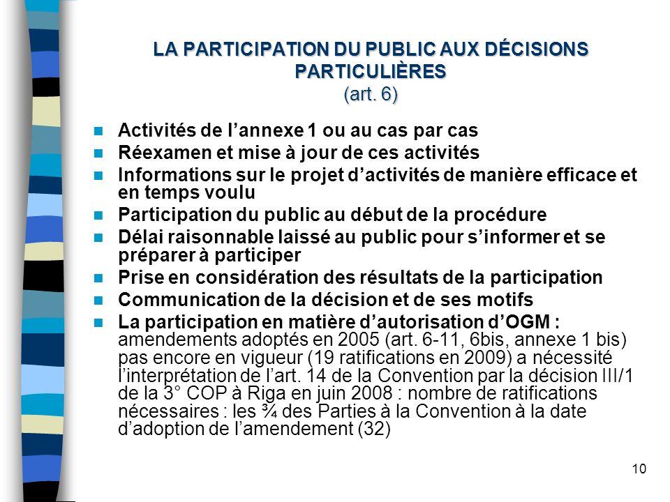 10 LA PARTICIPATION DU PUBLIC AUX DÉCISIONS PARTICULIÈRES (art. 6) Activités de lannexe 1 ou au cas par cas Réexamen et mise à jour de ces activités I