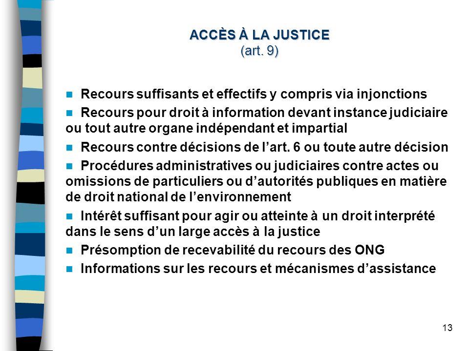 13 ACCÈS À LA JUSTICE (art.