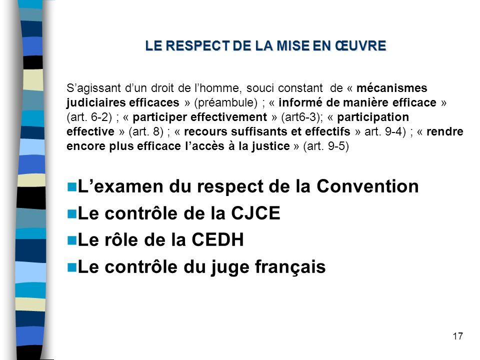 17 LE RESPECT DE LA MISE EN ŒUVRE Sagissant dun droit de lhomme, souci constant de « mécanismes judiciaires efficaces » (préambule) ; « informé de manière efficace » (art.