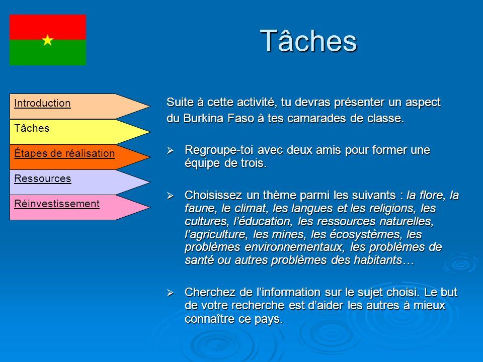 Tâches Suite à cette activité, tu devras présenter un aspect du Burkina Faso à tes camarades de classe. Regroupe-toi avec deux amis pour former une éq