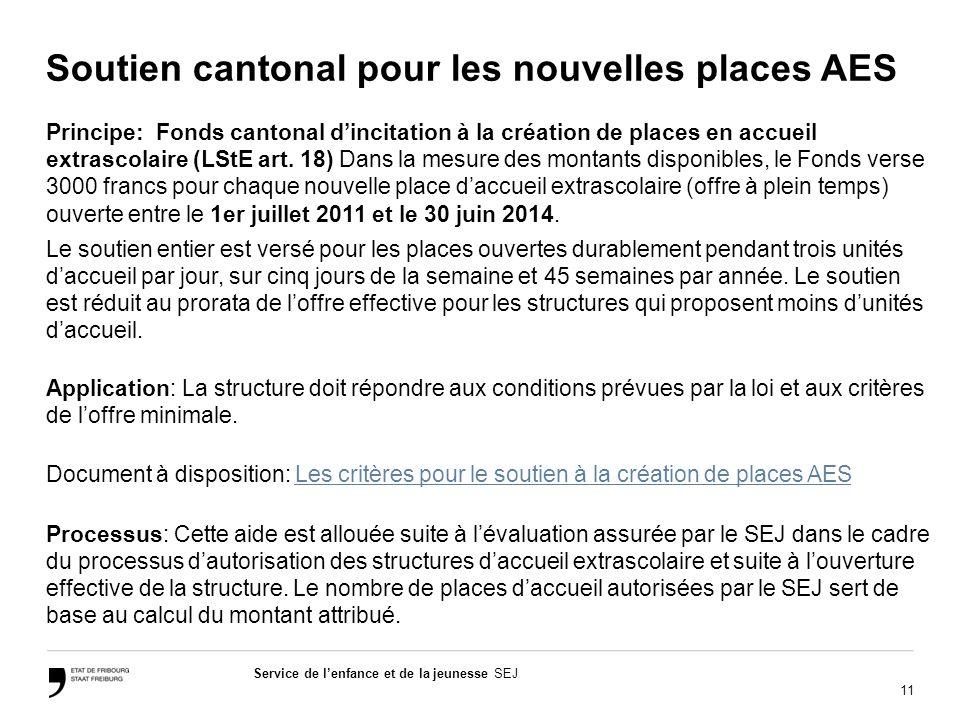 11 Service de lenfance et de la jeunesse SEJ Soutien cantonal pour les nouvelles places AES Principe: Fonds cantonal dincitation à la création de places en accueil extrascolaire (LStE art.