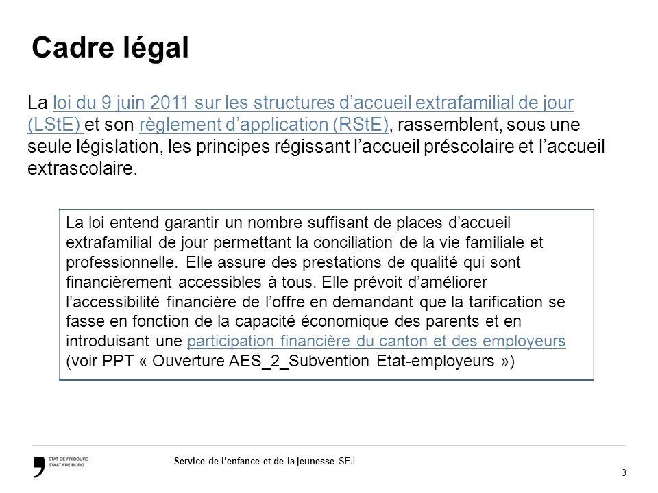 3 Service de lenfance et de la jeunesse SEJ Cadre légal La loi du 9 juin 2011 sur les structures daccueil extrafamilial de jour (LStE) et son règlement dapplication (RStE), rassemblent, sous une seule législation, les principes régissant laccueil préscolaire et laccueil extrascolaire.loi du 9 juin 2011 sur les structures daccueil extrafamilial de jour (LStE) règlement dapplication (RStE) La loi entend garantir un nombre suffisant de places daccueil extrafamilial de jour permettant la conciliation de la vie familiale et professionnelle.