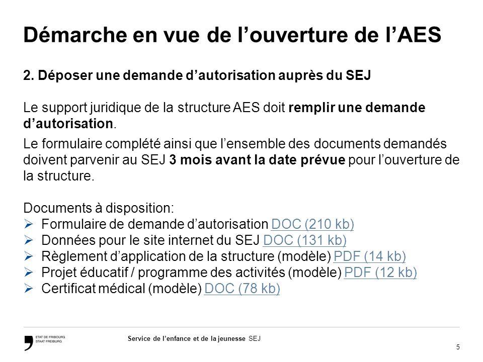 5 Service de lenfance et de la jeunesse SEJ Démarche en vue de louverture de lAES 2.