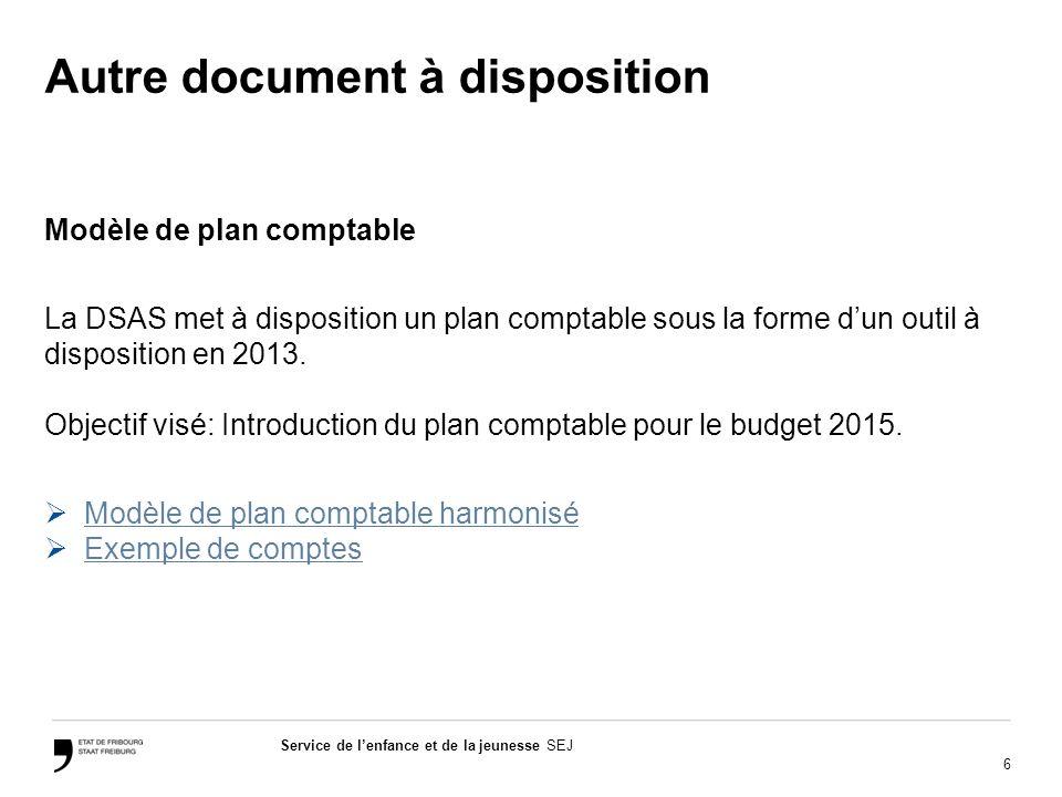6 Service de lenfance et de la jeunesse SEJ Autre document à disposition Modèle de plan comptable La DSAS met à disposition un plan comptable sous la forme dun outil à disposition en 2013.